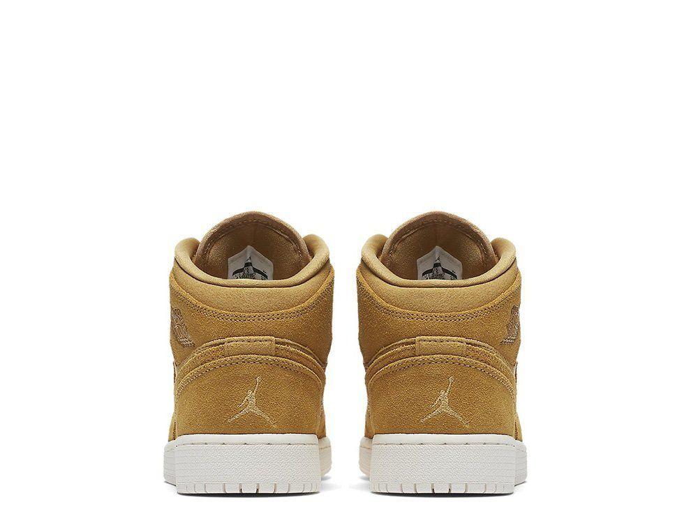 744ca1c78eb ... Кроссовки Air Jordan 1 Mid (BG) Wheat Pack (554725-725) ...