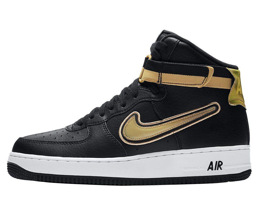 nike air force 1 high black gold