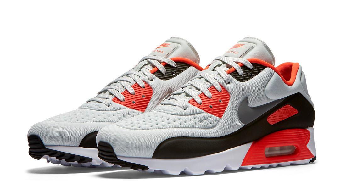 Nike Air Max 90 Premium Leather Black Medium Ash Total Crimson