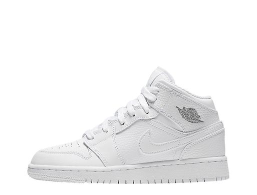 Кроссовки Air Jordan 1 Mid (GS) White (554725-109), 38