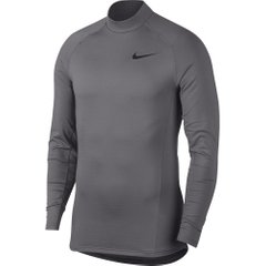 Nike Pro Therma Long Sleeve Mock Top Grey, Одежда для бега, XL