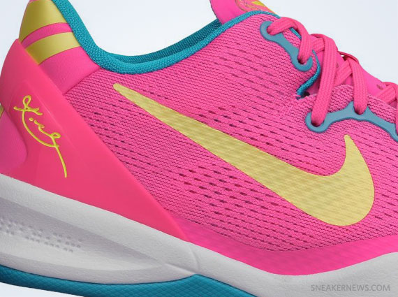 Кроссовки Nike Kobe 8 GS Dynamic Pink Electric Yellow Neo Turquoise