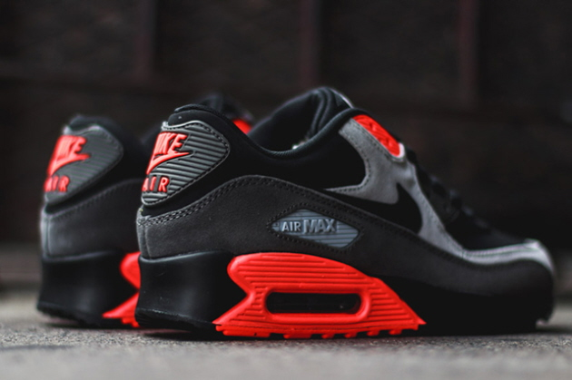 Кроссовки Nike Air Max 90 Leather [Black/Black Medium Ash Total Crimson]