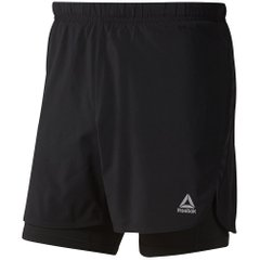Reebok Run Essentials Two в One Shorts Black, Одежда для бега, XL